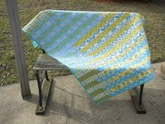 Jelly roll race Quilt  Throw Blanket  Handmade Quilt by SarahPixel, $185.00