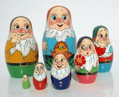 Dwarf matryoshka nesting wooden doll, 7 pieces