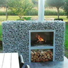 Your Perfect Garden — Amazing outdoor log burner built from gabions...