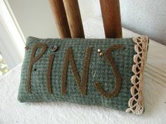 "Wool Pinkeep - love the trim at the end and the button for the ""i"""