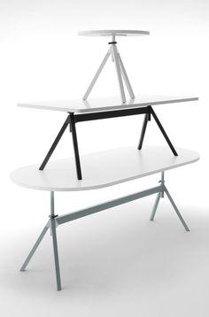Level By cor, height-adjustable meeting table design Uwe Fischer