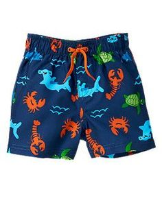 GYMBOREE DEEP SEA ADVENTURE BLUE FISH SWIM TRUNKS 3 6 NWT