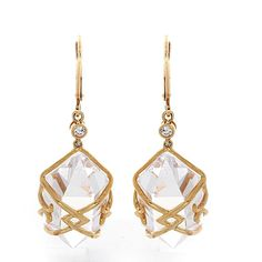 qvc Nolan Miller's Gold Tone Clear Couture Cut Earrings F284 #NolanMillers #DropDangle