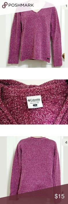 "Columbia purple nubby sweater Columbia Sweater  Color: Speckled Purple with white Sleeve: Long Sleeve Embellishment:Textured Yarn Size: Small 44% Acrylic, 29% Cotton, 21% Polyester, and 6% Nylon Machine Wash Gently used condition. No stains or tears. Length- 23""  Underarm to underarm doubled, laid flat-36""  Sleeve Length-25"" Columbia Sweaters V-Necks"
