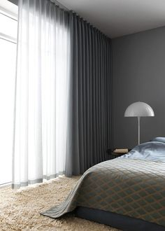 I love having the options of sheer curtains and solid curtains on same rod or sa. I love having the options of sheer curtains and solid curtains on same rod or same window up high! Home Curtains, Curtains Living, Floor To Ceiling Curtains, Grey Curtains Bedroom, Office Curtains, Modern Curtains, Curtains With Sheers, Curtains Grey Walls, Curtains And Blinds Together