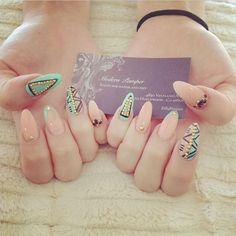 Tribal studded almond nails