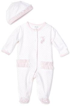 Little Me Baby-girls Newborn Prima Ballerina Footie and Hat, White/Pink, 3 Months