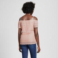 Maternity Short Sleeve Of The Shoulder Lace Top Blush XL - Macherie, Women's