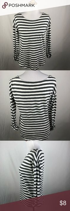 "Ann Taylor Loft gray and white stripe blouse med Small fabric manufacturers flaw in fabric, not a hole, barely notable. Chest 19""length: 24""approximate measurements. Smoke free/pet friendly home. Make sure to check out my other listings, thanks for looking! LOFT Tops Blouses"