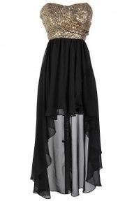black and gold, short to long dress