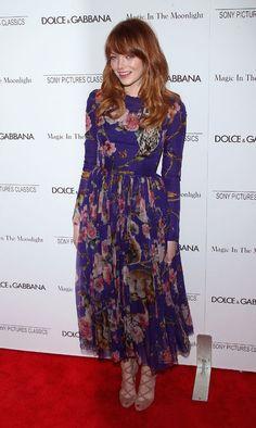 Emma Stone in pretty, hippie-ish Dolce & Gabbana