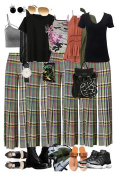 """plaid pants"" by riley-meow on Polyvore featuring Marco de Vincenzo, Bling Jewelry, Dr. Martens, Tom Ford, New Look, Gucci, LE3NO and NIKE"