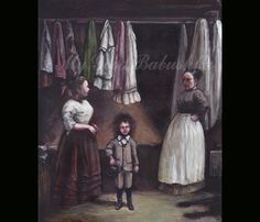 A New Suit of Clothes for the Wild Boy, Original Painting, Victorian Inspired Art, Seamstress, Tailor, Oddity, Sideshow, Circus, Wild Hair by mygoodbabushka on Etsy