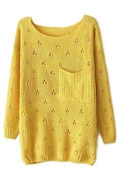 ROMWE | ROMWE Hollow-out Pocketed Long Sleeved Yellow Jumper, The Latest Street Fashion