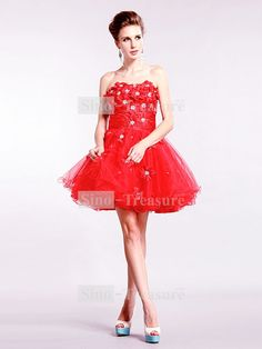 Cute Short/ Mini Sleeveless Beading Taffeta Fine Netting Cocktail Dresses