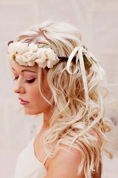 Rustic Woodland  Halo Crown  bridal flower halo  by florabond