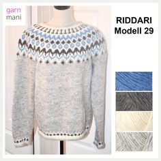 Icelandic Sweaters, Grey Sweater, Color Combos, Blue Grey, Stitch, Knitting, Sweatshirts, Blouse, Clothes