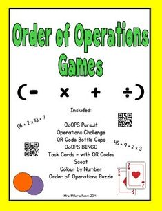 This bundle contains 8 activities to explore and practice the order of operations. Operation Game, Order Of Operations, School Fun, Task Cards, Algebra, Deck Of Cards, Teacher Newsletter, Teacher Pay Teachers, Challenges