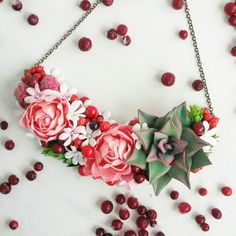 Ready to ship Flower Necklace Romantic Necklace by FlowersBySveta