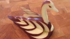 Here is creative fruit carving of an Apple Swan. This beautiful swan will be the star of your cheese plate or just amazing decoration for any food platter ...