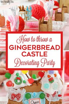 Tips and tricks for hosting a gingerbread castle decorating party for children! Candy Decorations, Handmade Christmas Decorations, Holiday Crafts, Holiday Fun, Gingerbread Castle, Christmas Gingerbread, All Things Christmas, Kids Christmas, Kids Party Themes