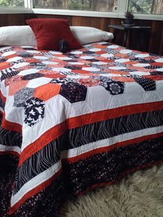 Queen size red black and white hexagon quilt by CallahanRags, $350.00