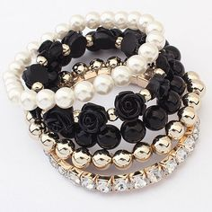 Preorder: Black Roses  Multilayer Beaded by TimelessBeautyStore
