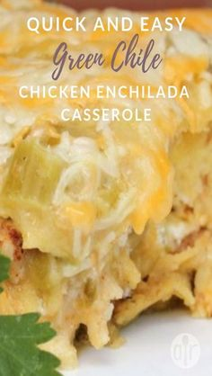 Quick and Easy Green Chile Chicken Enchilada Casserole - Tasty Foods Recipes I got my picture in the paper for this one! My friends' husbands always fall in love with this when I bring it to parties! My 4 picky k. Casserole Enchilada, Easy Enchilada Recipe, Green Chicken Enchilada Casserole, Green Chili Casserole, Corn Tortilla Casserole, Green Chili Chicken Crockpot, Shredded Chicken Casserole, Chicken Tortilla Bake, Corn Tortilla Recipes
