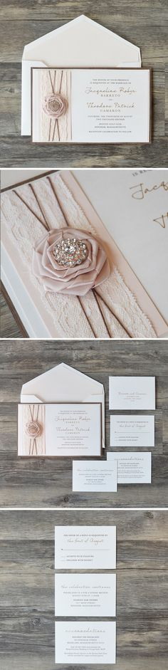 The Rose Collection represents sophisticated elegance that marries the tone of glamour and rustic. Based on a 3 ply layer of walnut wood, this #invitation features gold metallic ink. The multi-layer vertical #bellyband is the main feature starting with a shimmer blush layer, 2″ ivory lace, dark twine and a 2″ delicate satin ribbon rosette centered with a crystal brooch. All enclosure cards are 1 ply, 2 color in our luxe press printing. The envelope is lined is the same blush shimmer card…