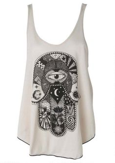 Hamsa Tank Love! Would wear underneath a big, fuzzy cocoon cardigan and some leggings.