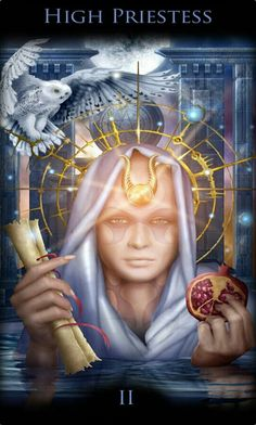 High Priestess card from the Legacy of the Divine Tarot. The High Priestess says we will know the truth when we stop and listen the small, still voice within. Tarot By Cecelia, Tarot Significado, Divine Tarot, Tarot Learning, Tarot Card Meanings, Tarot Readers, Major Arcana, Oracle Cards, Tarot Decks
