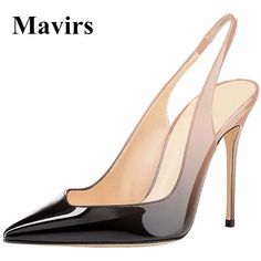 MAVIRS Brand Women Pumps Wedding Shoes 2018 Spring Gradient Black Blue Sexy  Super High Heels Point Toe 10CM Stiletto Size 5-15 c6c06b456e81