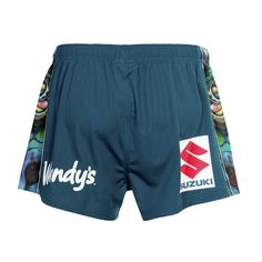 Back view of the #Tangaroa shorts. The design pays homage to Tangaroa, the #Maori god of the #ocean #Merchandise #WarriorsForever #NRL #AucklandNines #shorts #Paua #NewZealand