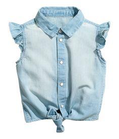 Denim Tie-front Blouse | Light denim blue | Kids | H&M US