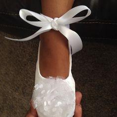 Ivory Satin Flower Girl Shoe 23 colors Ivory Baby by BabySouls