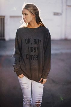 Brandy Melville Graphics | Brandy ♥ Melville | Erica But First Coffee Sweatshirt - Graphics