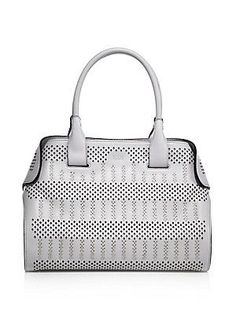 Tod's Cape Small Studded Laser-Cut Leather Satchel