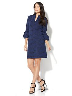 Shop Puff-Sleeve Jacquard Shift Dress. Find your perfect size online at the best price at New York & Company.