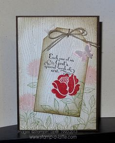 Simple Stems Tag Card  Sweet card for any occasion using Simple Stems, Woodgrain background, Trust God and Peaceful Petals - simply use your favourite sentiment for any occasion - birthday, get well, sympathy  #stampinup #occasions2014 #anyoccasioncard.