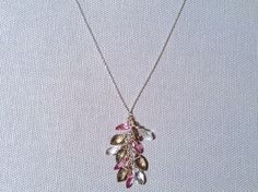 Handmade Necklace with Marquise Champagne & Crystal Quartz, Pink Topaz  by Amber Bryce