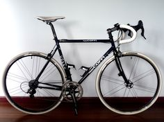 Zynster's Fausto Coppi. Campagnolo Veloce group and Vento wheels; Ritchey fork, post, stem and bars; Fizik Arione; Rubino Pros.