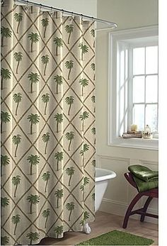 Palm Tree Fabric Shower Curtain With Bamboo Lattice Detailing By Maytex  Mills, Http:/