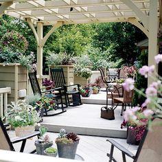 A deck that gradually steps down creates multiple areas for entertaining: http://www.bhg.com/home-improvement/patio/designs/decks-and-patio-design-ideas/?socsrc=bhgpin031014stepbystep&page=3