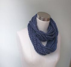 Blue Chain Scarf Necklace / Long / Denim Blue Scarf / Blue Scarf / Crochet Scarf