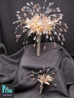 Prom Pom Crystal Bouquet Set Light Rose by PrismBouquets on Etsy, $45.00