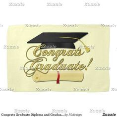 Congrats Graduate Diploma and Graduation hat Kitchen Towel by #PLdesign #Graduation #GraduationGift #CongratsGraduate