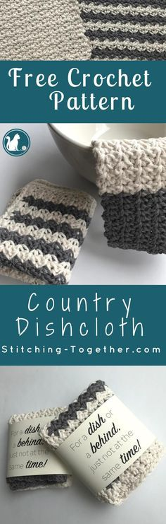 Wouldn't these country dishcloths look perfect in your farmhouse kitchen? They add the perfect rustic DIY touch for any farmhouse style. Free crochet pattern. Spider stitch