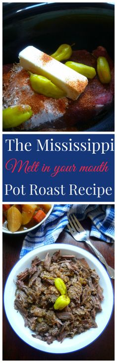 The Mississippi Pot Roast Recipe by Robin Chapman Pot Roast Recipes, Meat Recipes, Slow Cooker Recipes, Crockpot Recipes, Cooking Recipes, Recipies, Delicious Recipes, Dinner Crockpot, Dinner Recipes