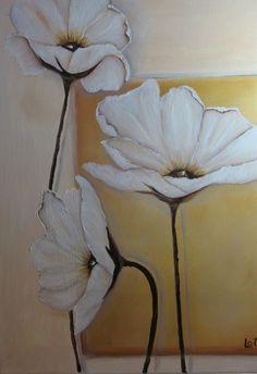 """Sapotille — gosunshinegold: """"White Poppies"""" original oil on..."""