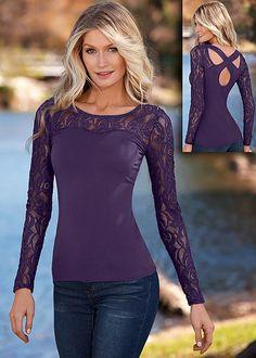 DARK PURPLE Lace long sleeve top from VENUS